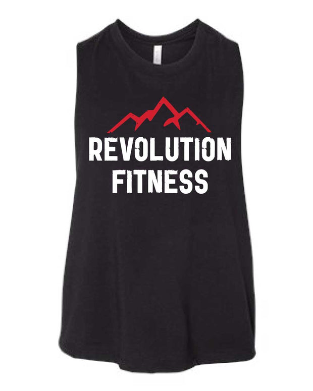 Revolution Fitness Ladies Cropped Racerback Tank-Boxstar Apparel