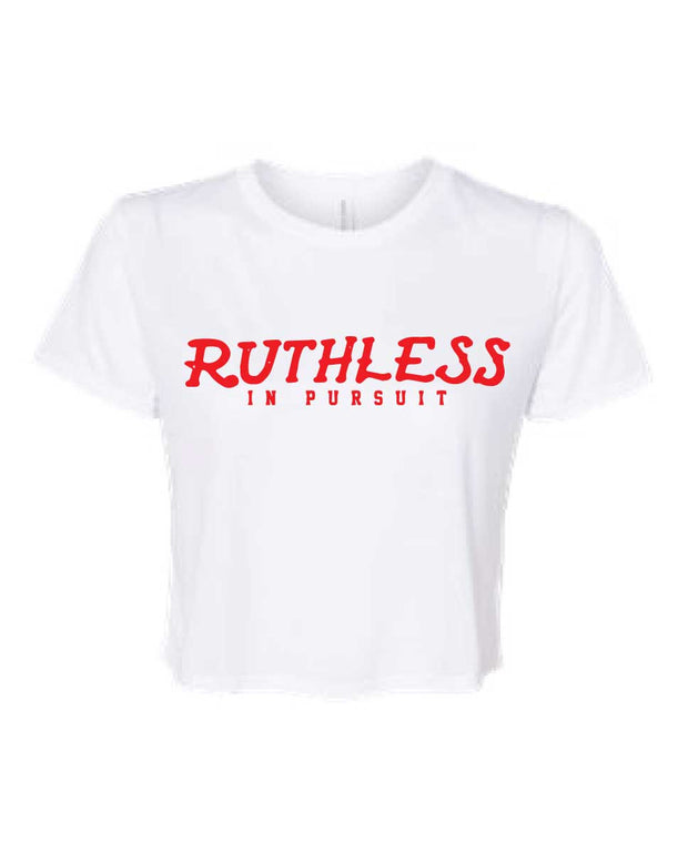 Ruthless In Pursuit Ladies Flowy Cropped Tee-Boxstar Apparel