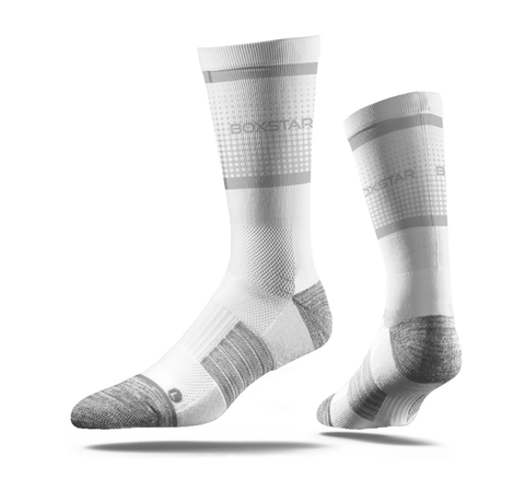 White & Grey Sleek Crew Socks-Boxstar Apparel