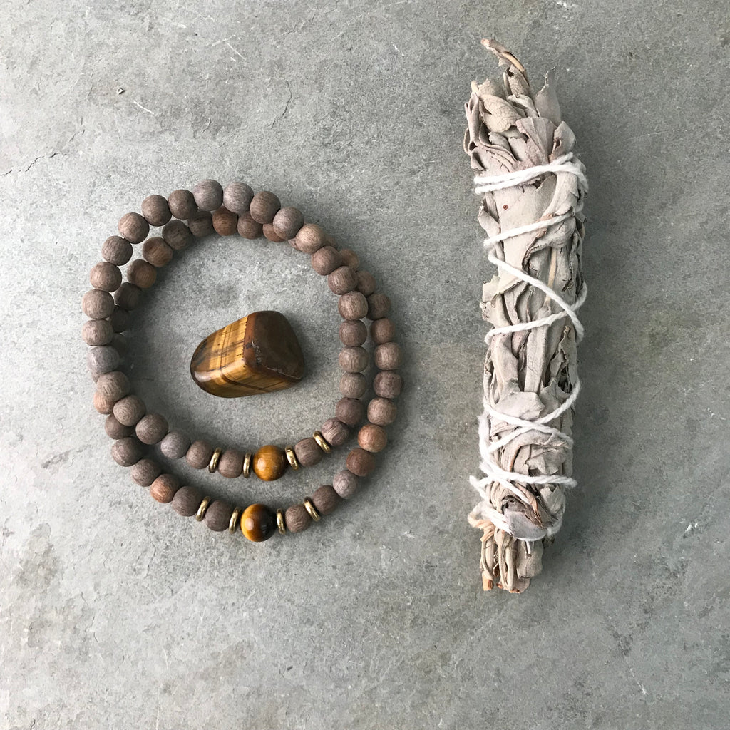 HIS & HERS PROTECTION BRACELET AND SAGE SET - TIGERS EYE