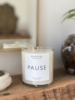 Pause intention candle BOHINDI quartz crystal