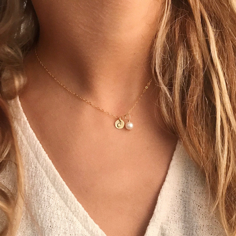 GRACE | MINI INITIAL DISC AND PEARL NECKLACE