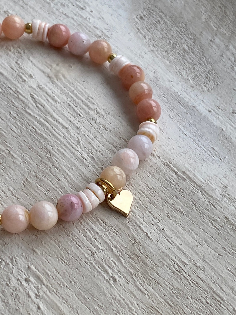 Let Love Flow - Pink Jade River Bracelet