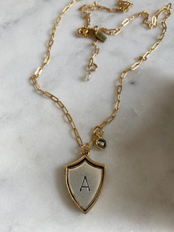 I AM CAPABLE | INITIAL CREST & PYRITE NECKLACE