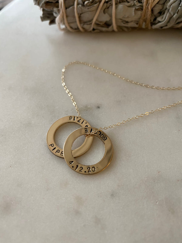Halo Name and Date Necklace - Smooth