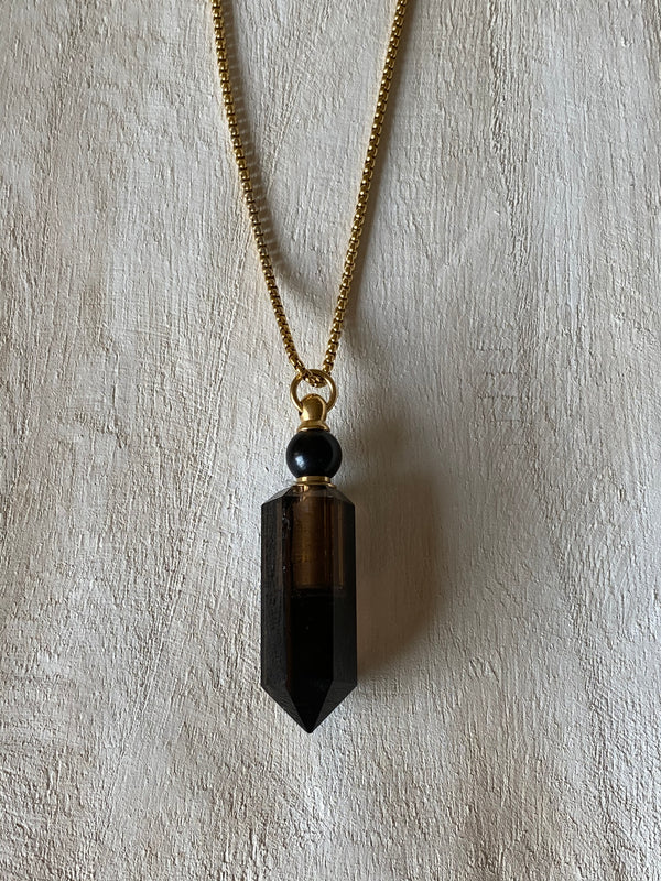 RECHARGE - ESSENTIAL OIL SMOKY QUARTZ VIAL NECKLACE