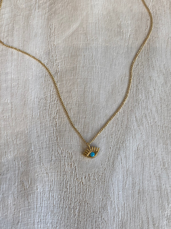 turquoise gold necklace the evil eye