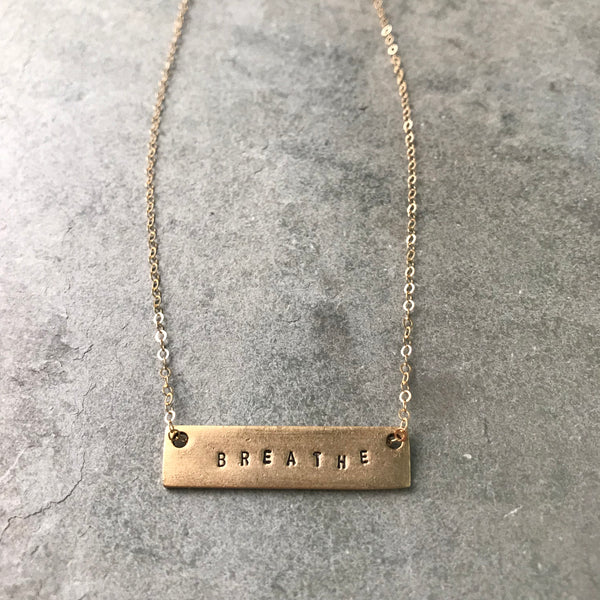 BREATHE MANTRA BAR NECKLACE