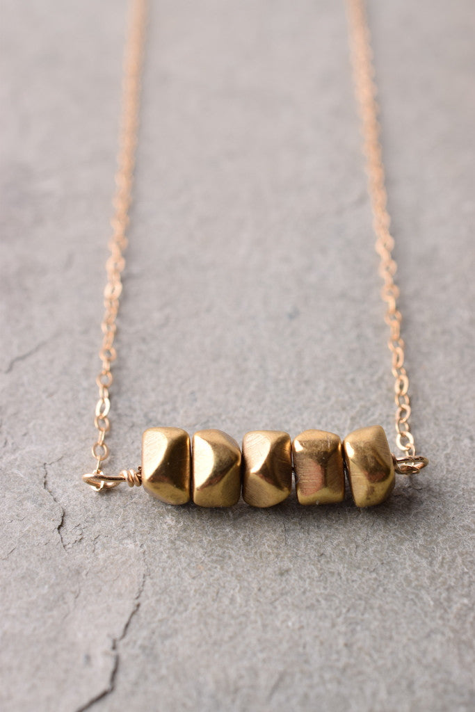 GOLD NUGGET BAR NECKLACE