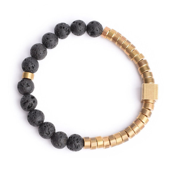 GOLD AND LAVA BEAD BRACELET