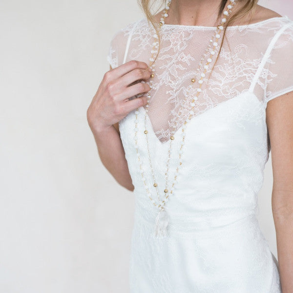 WHITE OPAL & SILK TASSEL MALA NECKLACE - STYLE 616