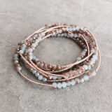 CRYSTAL BEADED & GOLD BAR WRAP BRACELET - STYLE 621