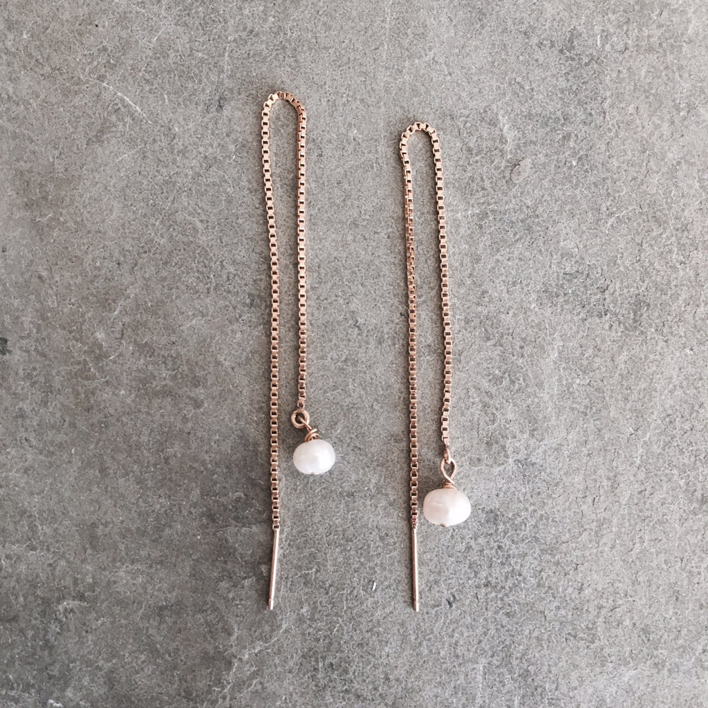 FRESHWATER PEARL DROP THREAD EARRINGS - STYLE 613