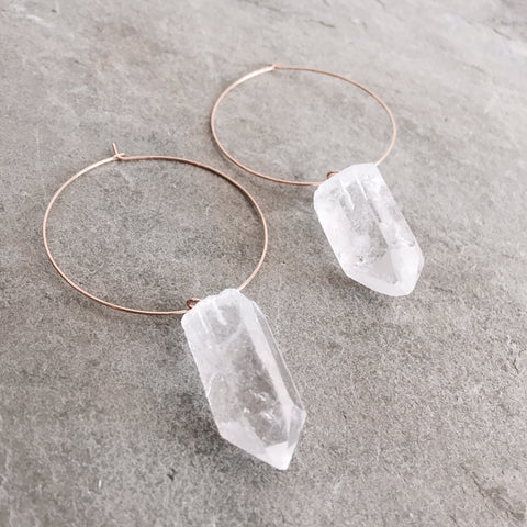 QUARTZ CRYSTAL HOOP EARRINGS - STYLE 618