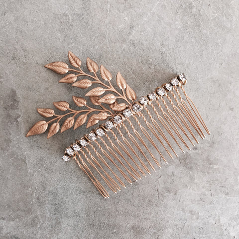 TWIG LEAF SPRAY & RHINESTONE COMB - STYLE 606