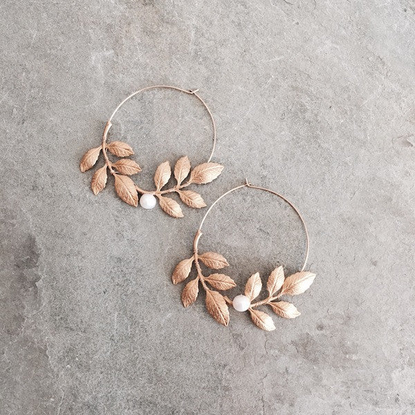 BIRCH LEAF & PEARL EARRINGS - STYLE 607