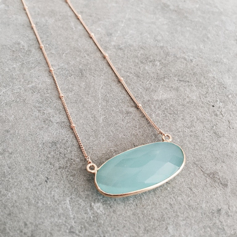 MINT BLUE CHALCEDONY OVAL SIENNA NECKLACE - STYLE  609