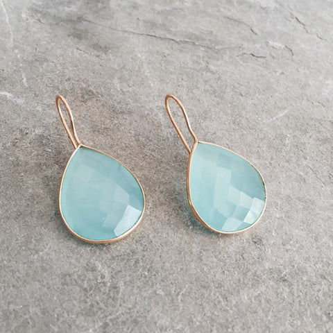 MINT BLUE CHALCEDONY DROP SIENNA EARRINGS - STYLE  610