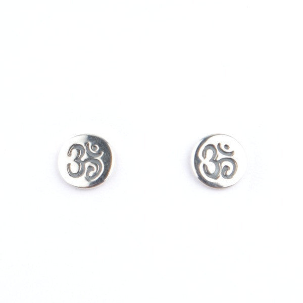 OM DISC STUD EARRINGS - SILVER