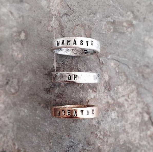 personalized word ring, mantra ring handmade by BOHINDI