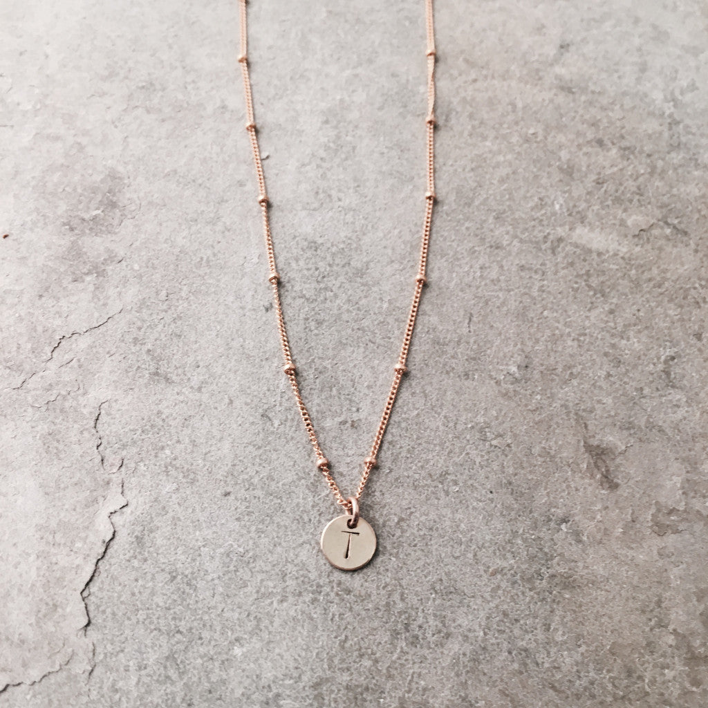 MINI INITIAL DISC & DEW DROP NECKLACE