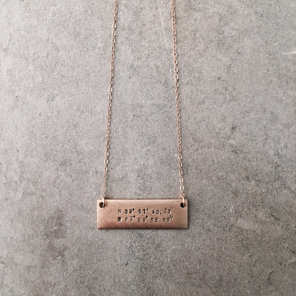 HORIZONTAL COORDINATES BAR NECKLACE