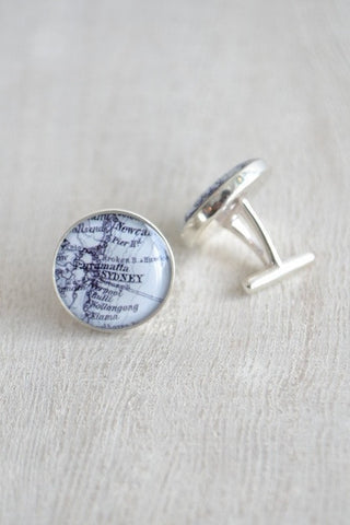 STERLING SILVER CUSTOM MAP CUFFLINKS