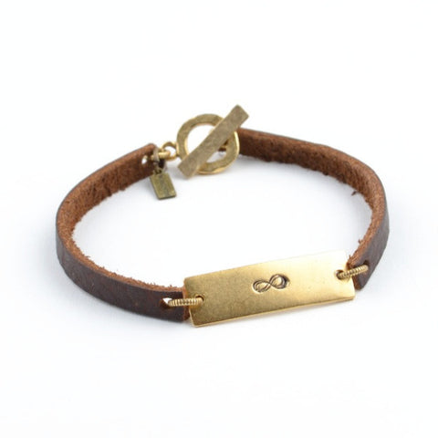 LEATHER BAR INFINITY BRACELET