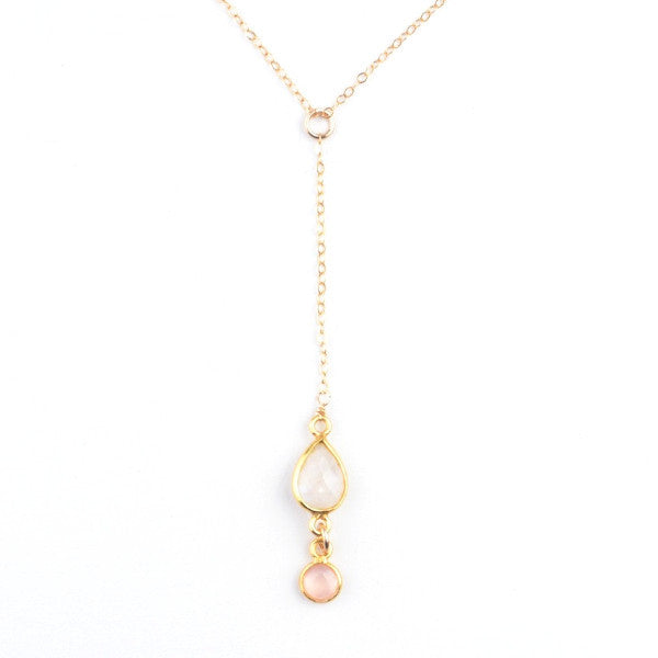 ROSE QUARTZ INFINITY Y NECKLACE