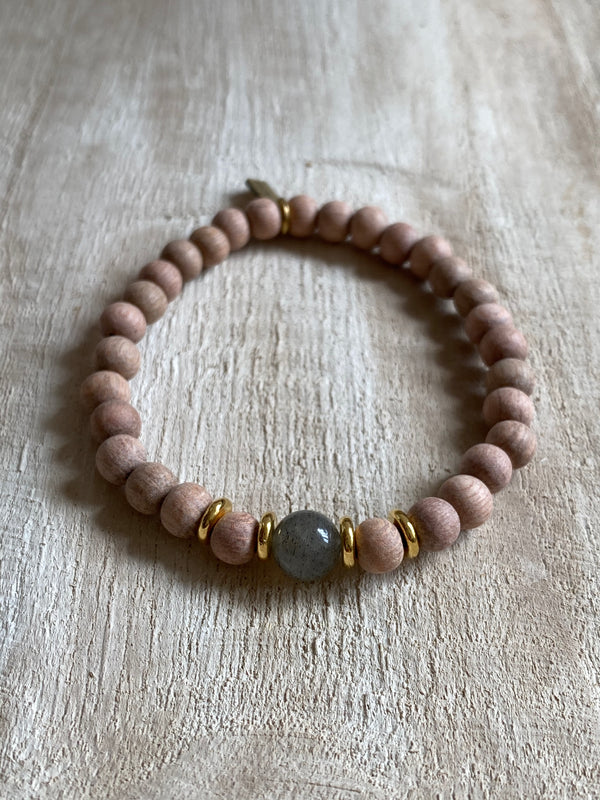 Oil diffusing bracelet labradorite intuition and compassion bohindi beads