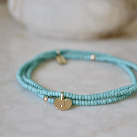 TURQUOISE INITIAL SEED BEAD BRACELET STACK