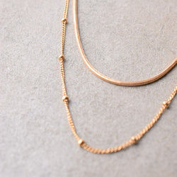 SATELLITE AND SNAKE CHAIN LAYERED NECKLACE SET