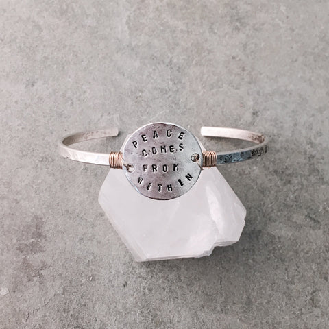 PEACE COMES FROM WITHIN TOKEN CUFF