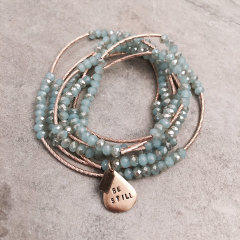 BE STILL CRYSTAL BEADED MANTRA WRAP BRACELET