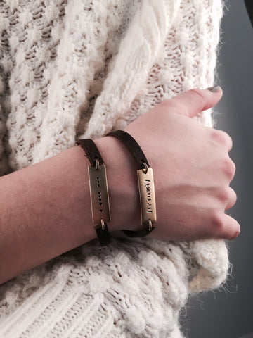 LEATHER BAR INFINTIY BRACELET - PHONETIC