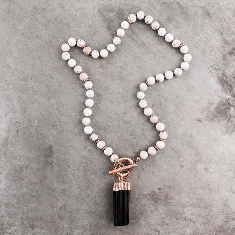 ESSENTIAL OIL PRAYER BEADS - BLACK TASSEL