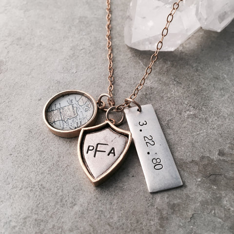 MONOGRAM SHIELD MAP & BAR NECKLACE