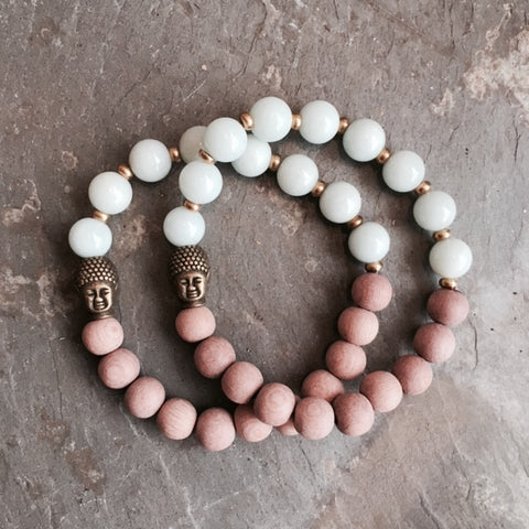 SET OF 2 HARMONY BUDDHA & AMAZONITE OIL DIFFUSING BRACELETS
