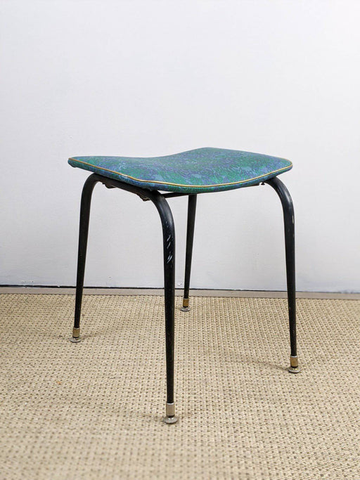 A 1950s Iron and Vinyl Stool - Greystones Antiques