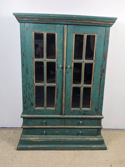 A Rustic Painted Armoire With Glazed Doors - Greystones Antiques