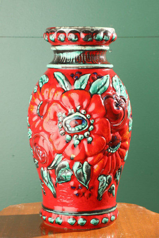 A Large West German Pottery Vase with Raised Floral Design - Greystones Antiques