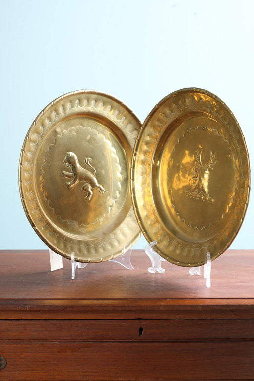 A Pair of 19th Century Brass Plates - Greystones Antiques