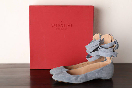 Valentino Blue Suede Ballerina Flats Size 40 - Greystones Antiques