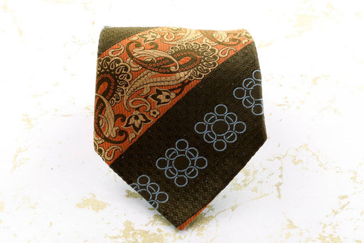 An Olive Green and Orange Tie - Greystones Antiques