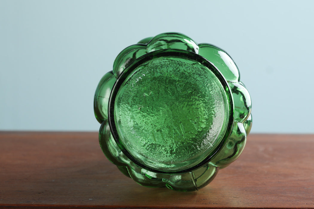 An Italian 1960s Green Glass Hobnail Decanter - Greystones Antiques
