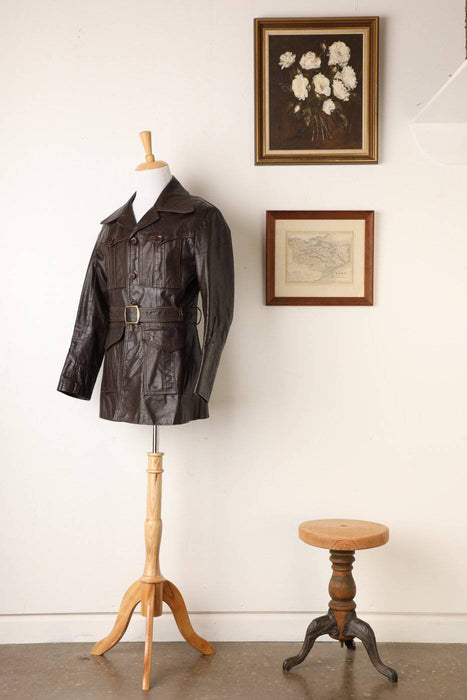 A 1970s Men's Leather Trench Coat - Greystones Antiques