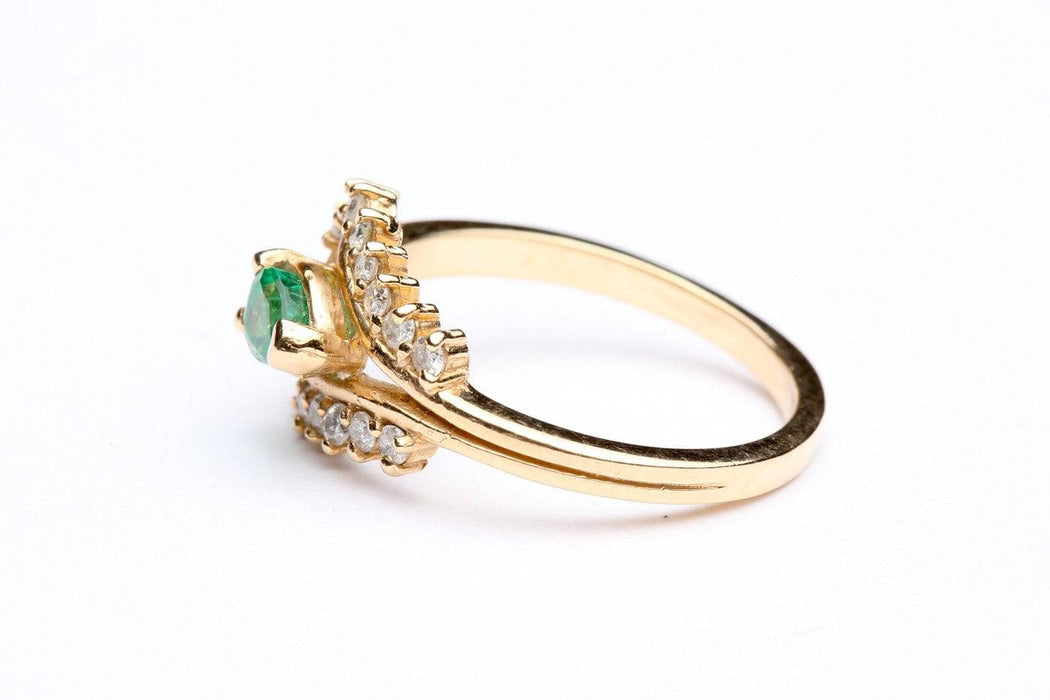 An Emerald And Diamond 14 Karat Gold Ring - Greystones Antiques