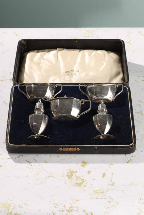Hardy Bros Silver Plated Cruet Service in Box c.1930 - Greystones Antiques