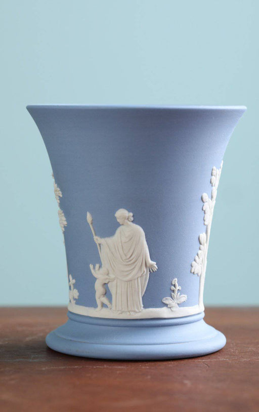 A Small Wedgwood Blue Jasperware Vase - Greystones Antiques