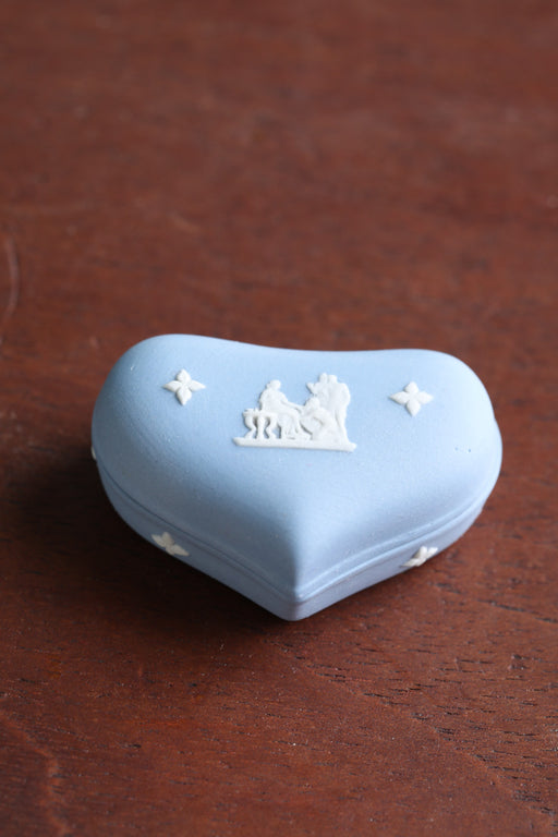 A Mid-Century Blue Jasperware Heart Shaped Dish - Greystones Antiques